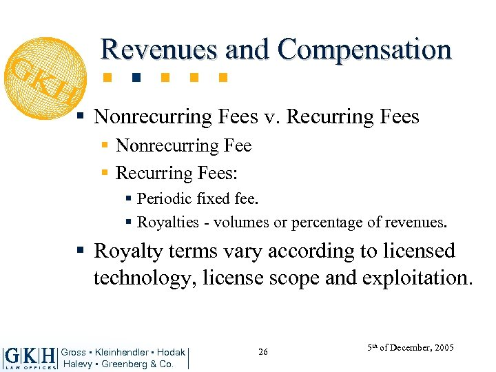 Revenues and Compensation § Nonrecurring Fees v. Recurring Fees § Nonrecurring Fee § Recurring