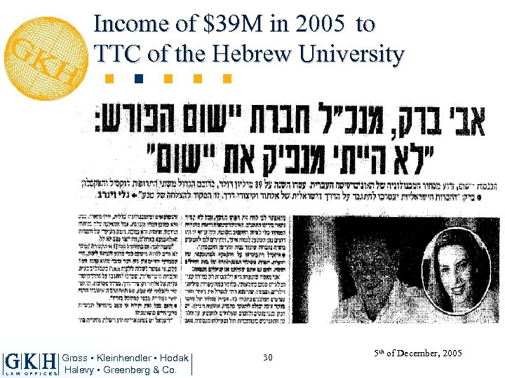 Income of $39 M in 2005 to TTC of the Hebrew University L A