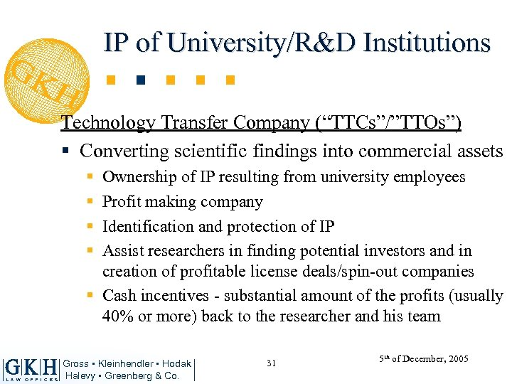 "IP of University/R&D Institutions Technology Transfer Company (""TTCs""/""TTOs"") § Converting scientific findings into commercial"