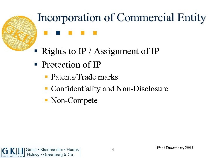 Incorporation of Commercial Entity § Rights to IP / Assignment of IP § Protection