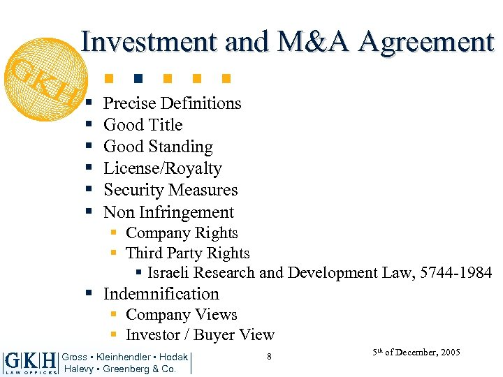 Investment and M&A Agreement § § § Precise Definitions Good Title Good Standing License/Royalty