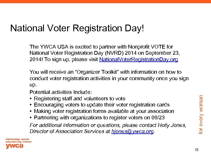 """National Voter Registration Day! You will receive an """"Organizer Toolkit"""" with information on how"""