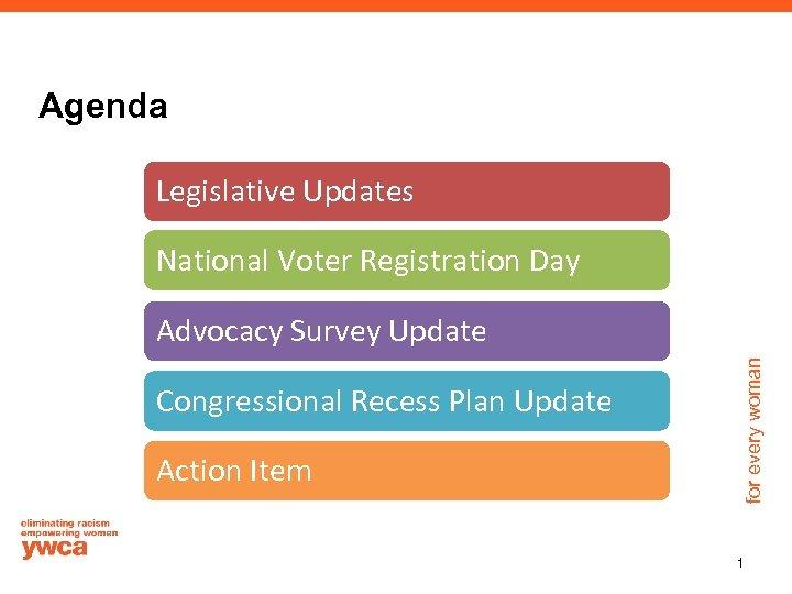 Agenda Legislative Updates National Voter Registration Day Congressional Recess Plan Update Action Item for