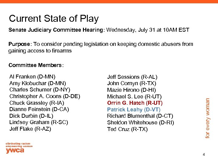 Current State of Play Senate Judiciary Committee Hearing: Wednesday, July 31 at 10 AM