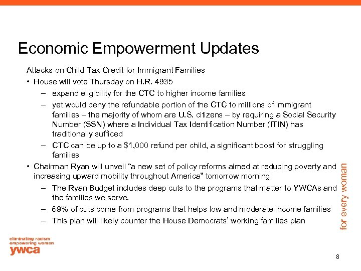 Economic Empowerment Updates for every woman Attacks on Child Tax Credit for Immigrant Families