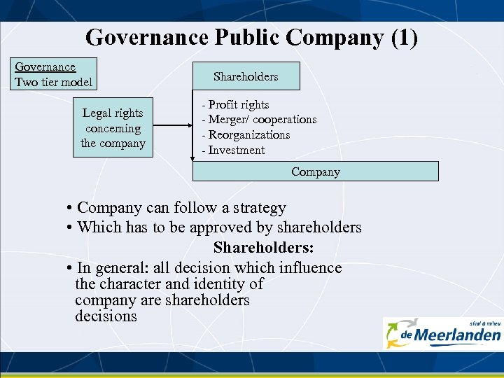 Governance Public Company (1) Governance Two tier model Legal rights concerning the company Shareholders