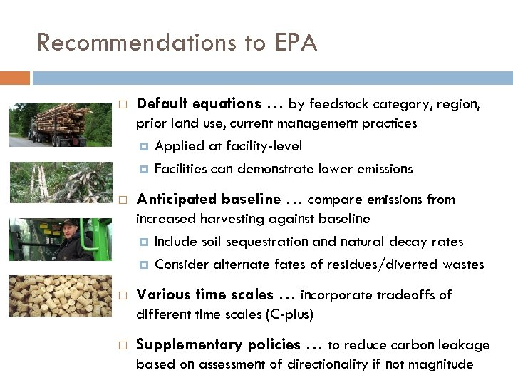 Recommendations to EPA Default equations … by feedstock category, region, prior land use, current