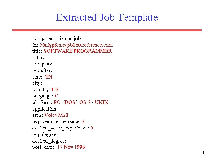 Extracted Job Template computer_science_job id: 56 nigp$mrs@bilbo. reference. com title: SOFTWARE PROGRAMMER salary: company: