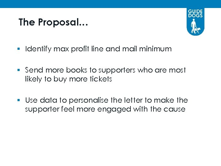 The Proposal… § Identify max profit line and mail minimum § Send more books