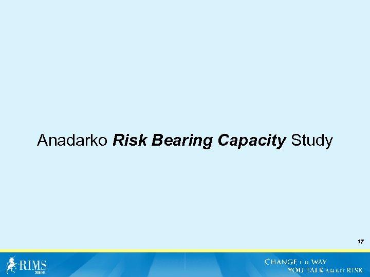 Anadarko Risk Bearing Capacity Study 17