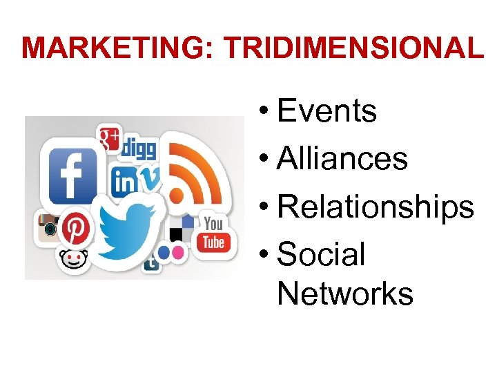 MARKETING: TRIDIMENSIONAL • Events • Alliances • Relationships • Social Networks
