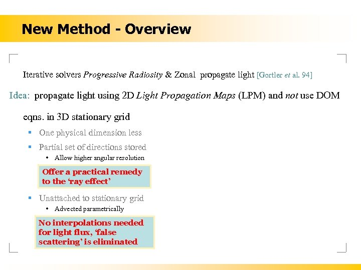 New Method - Overview Iterative solvers Progressive Radiosity & Zonal propagate light [Gortler et
