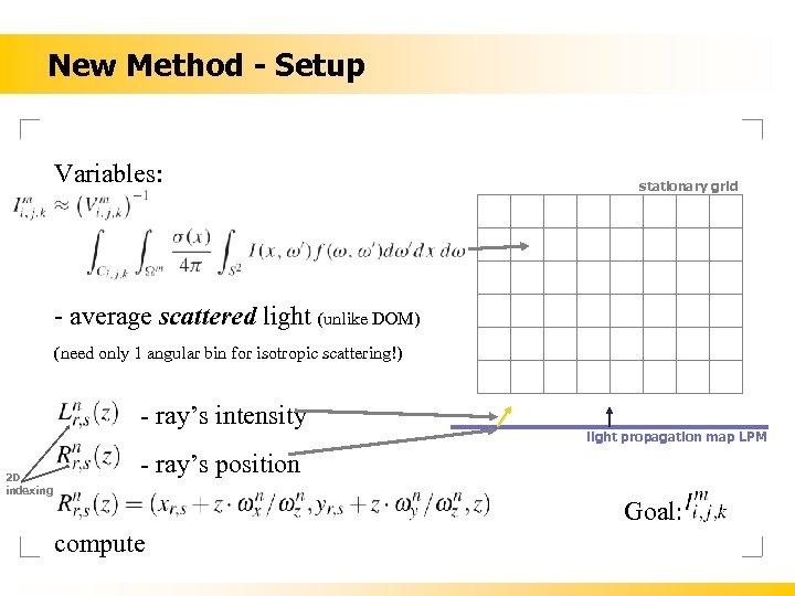 New Method - Setup Variables: stationary grid - average scattered light (unlike DOM) (need