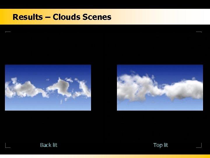 Results – Clouds Scenes Back lit Top lit