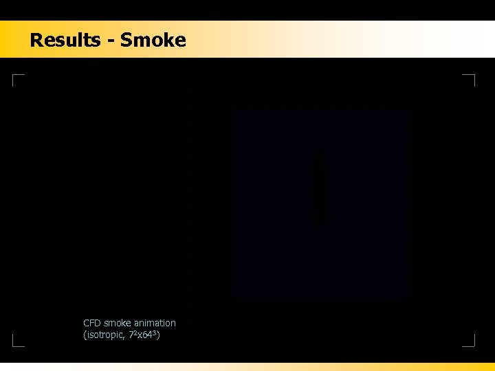 Results - Smoke CFD smoke animation (isotropic, 72 x 643)