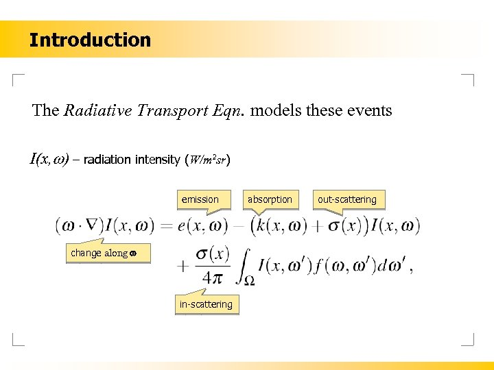 Introduction The Radiative Transport Eqn. models these events I(x, w) – radiation intensity (W/m