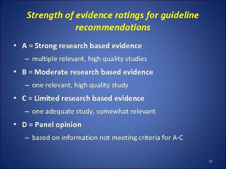 Strength of evidence ratings for guideline recommendations • A = Strong research based evidence