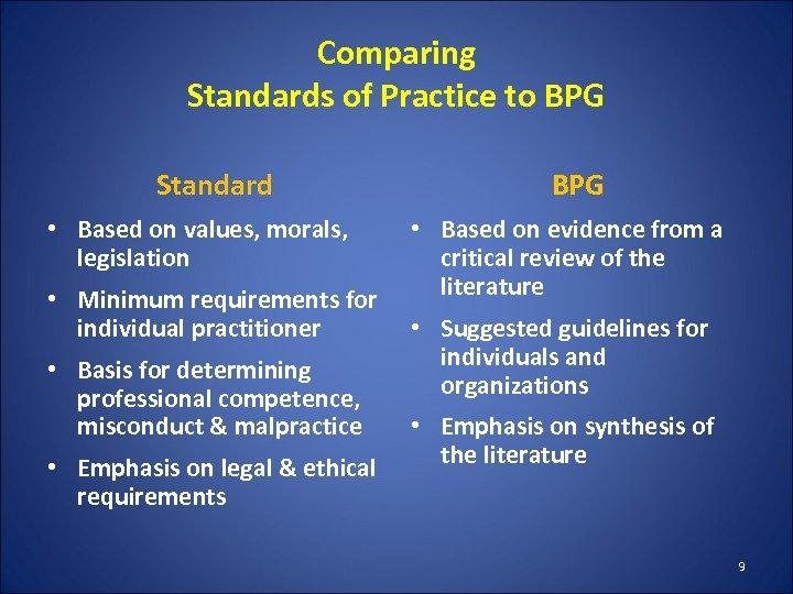 Comparing Standards of Practice to BPG Standard • Based on values, morals, legislation •