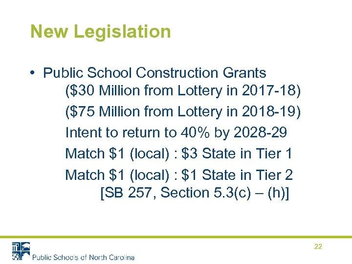 New Legislation • Public School Construction Grants ($30 Million from Lottery in 2017 -18)