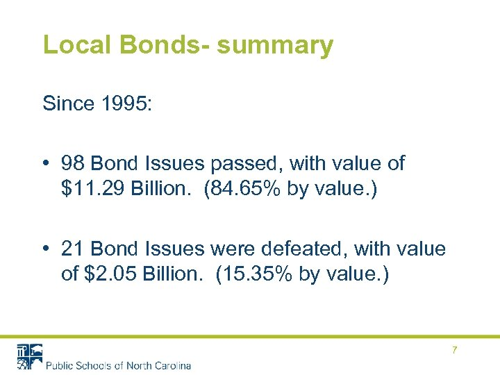 Local Bonds- summary Since 1995: • 98 Bond Issues passed, with value of $11.