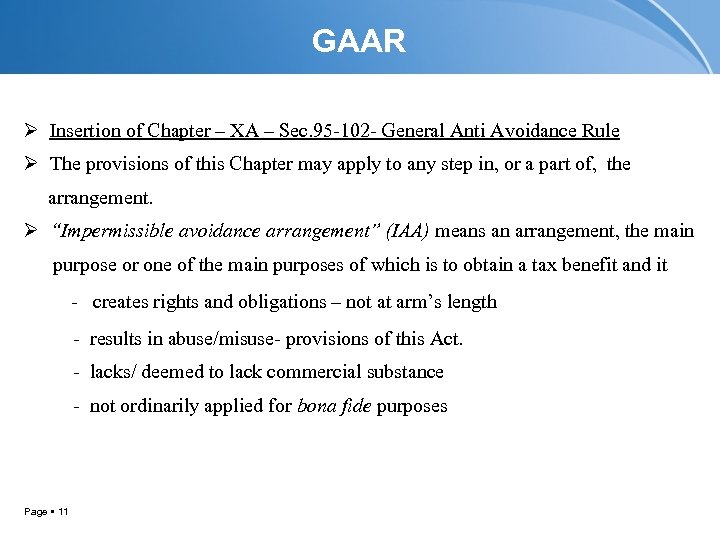 GAAR Ø Insertion of Chapter – XA – Sec. 95 -102 - General Anti