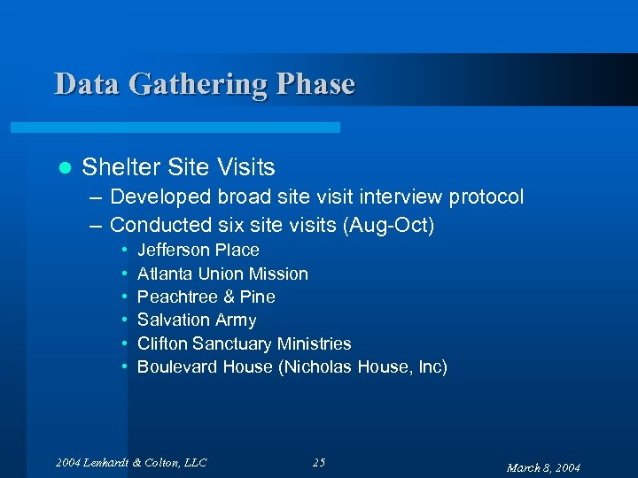 Data Gathering Phase l Shelter Site Visits – Developed broad site visit interview protocol