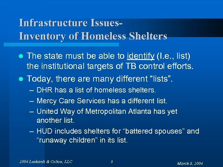 Infrastructure Issues. Inventory of Homeless Shelters The state must be able to identify (I.