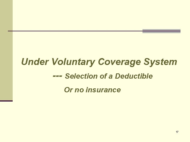 Under Voluntary Coverage System --- Selection of a Deductible Or no insurance 17