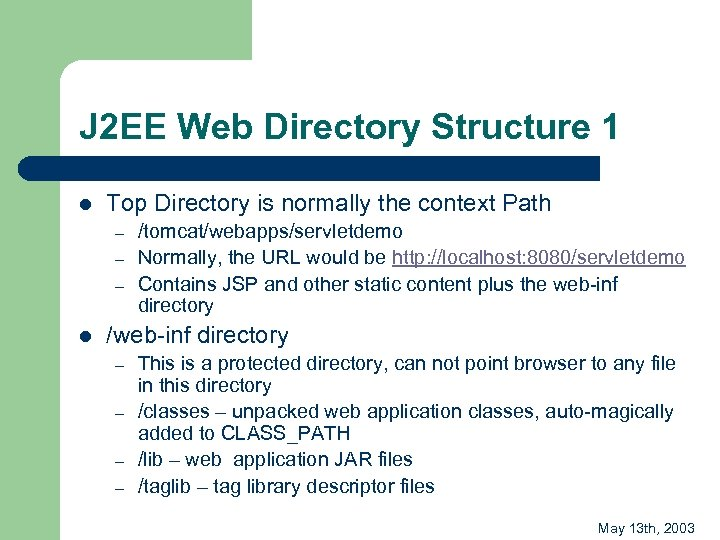 J 2 EE Web Directory Structure 1 l Top Directory is normally the context