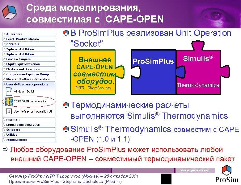 Среда моделирования, совместимая с CAPE-OPEN В Pro. Sim. Plus реализован Unit Operation