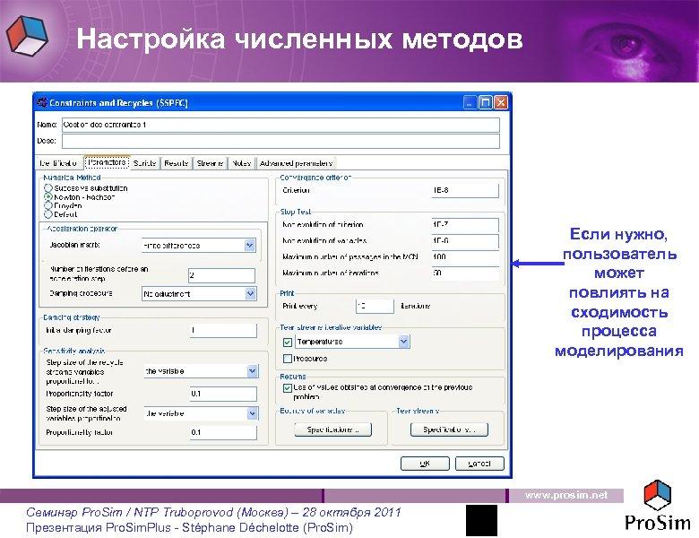 Настройка численных методов Если нужно, пользователь может повлиять на сходимость процесса моделирования www. prosim.