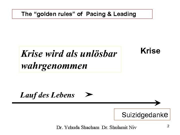 """The """"golden rules"""" of Pacing & Leading Krise wird als unlösbar wahrgenommen Lauf des"""