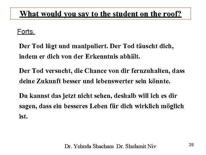 What would you say to the student on the roof? Forts. Der Tod lügt