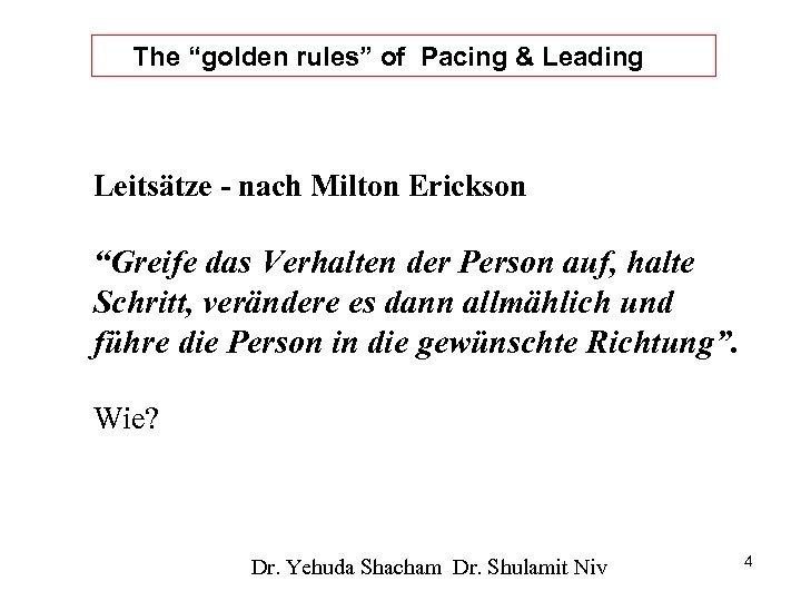 """The """"golden rules"""" of Pacing & Leading Leitsätze - nach Milton Erickson """"Greife das"""