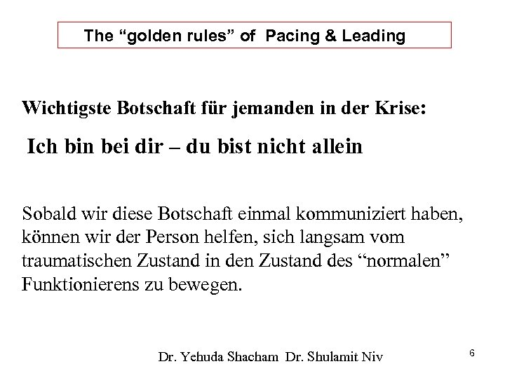 """The """"golden rules"""" of Pacing & Leading Wichtigste Botschaft für jemanden in der Krise:"""