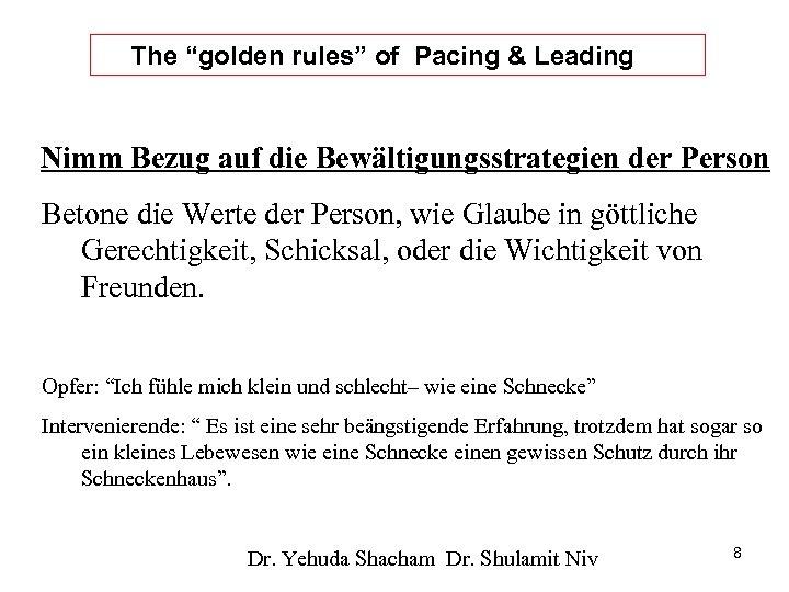 """The """"golden rules"""" of Pacing & Leading Nimm Bezug auf die Bewältigungsstrategien der Person"""