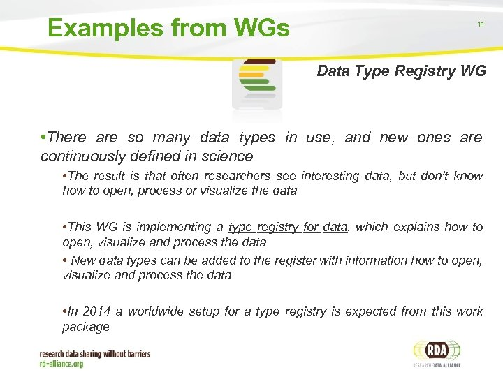 Examples from WGs 11 Data Type Registry WG • There are so many data
