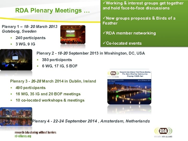 RDA Plenary Meetings … Plenary 1 – 18 - 20 March 2013 Goteborg, Sweden