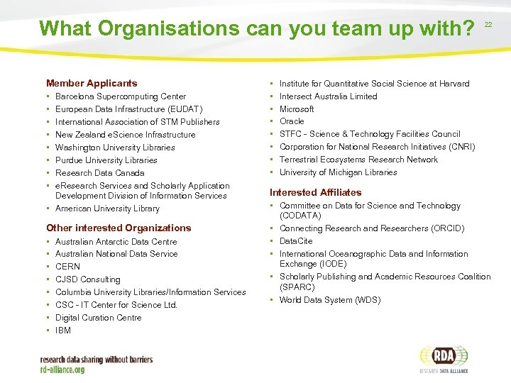 What Organisations can you team up with? Member Applicants • • Barcelona Supercomputing Center
