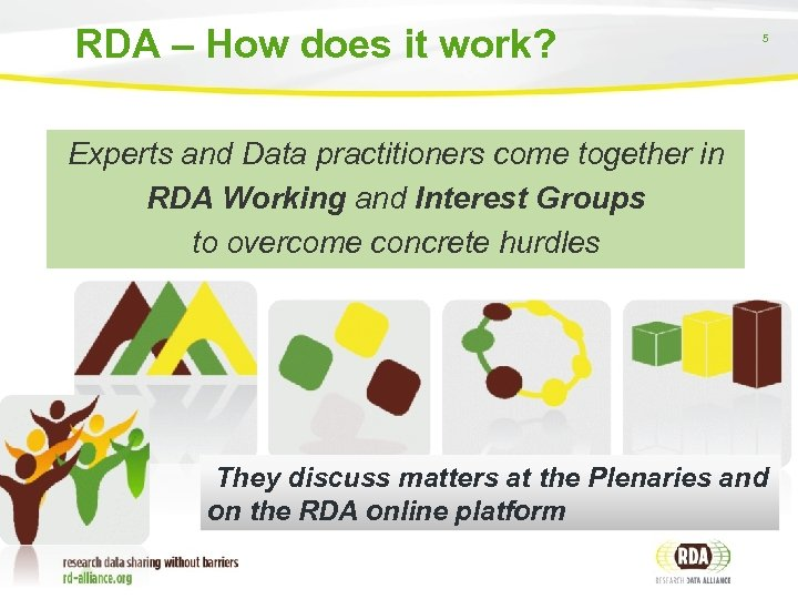 RDA – How does it work? 5 Experts and Data practitioners come together in