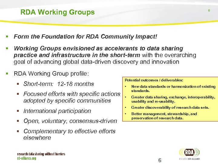 RDA Working Groups 6 Form the Foundation for RDA Community Impact! Working Groups envisioned