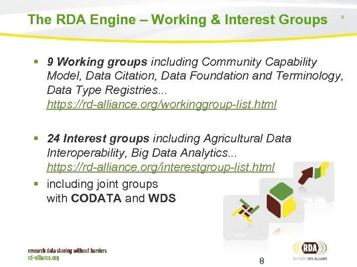 The RDA Engine – Working & Interest Groups 8 9 Working groups including Community