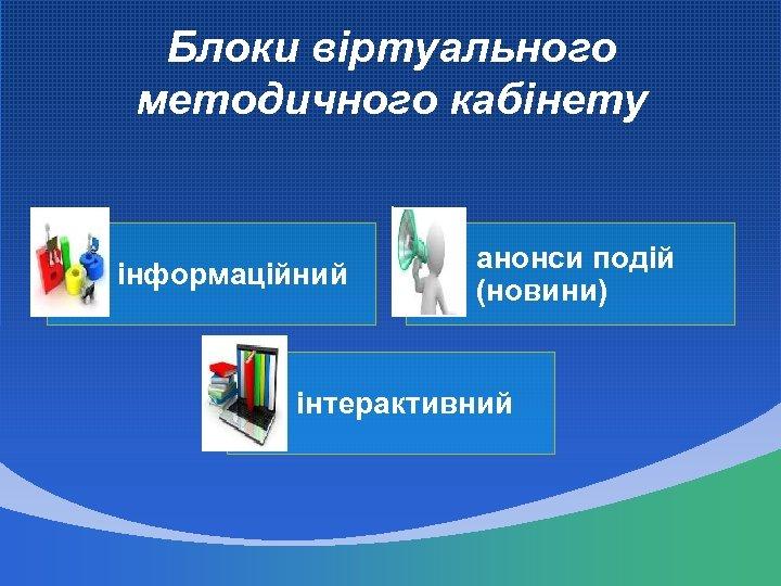 Блоки віртуального методичного кабінету інформаційний анонси подій (новини) інтерактивний