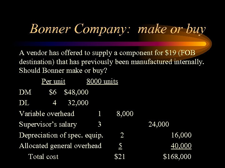 Bonner Company: make or buy A vendor has offered to supply a component for