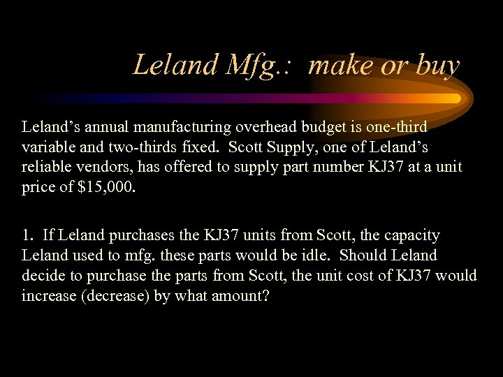 Leland Mfg. : make or buy Leland's annual manufacturing overhead budget is one-third variable