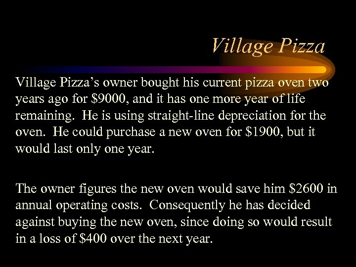Village Pizza's owner bought his current pizza oven two years ago for $9000, and