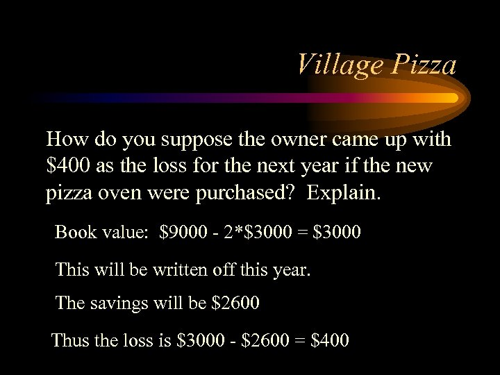 Village Pizza How do you suppose the owner came up with $400 as the