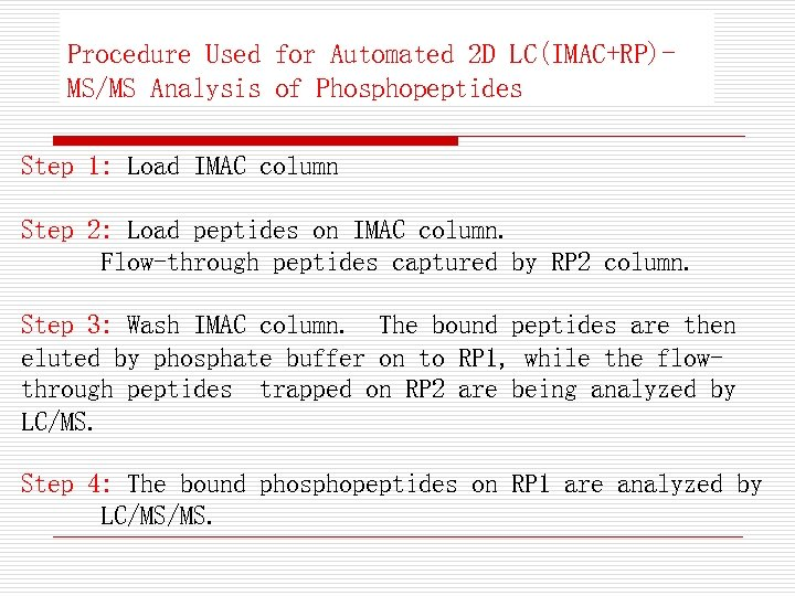 Procedure Used for Automated 2 D LC(IMAC+RP)MS/MS Analysis of Phosphopeptides Step 1: Load IMAC