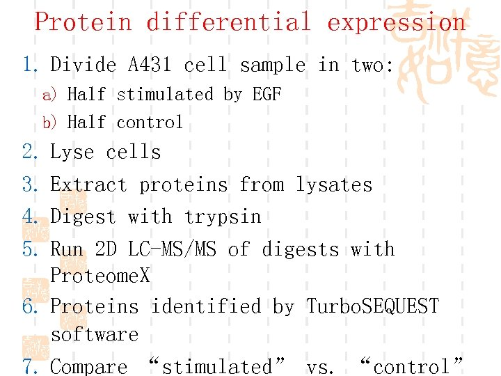 Protein differential expression 1. Divide A 431 cell sample in two: a) Half stimulated