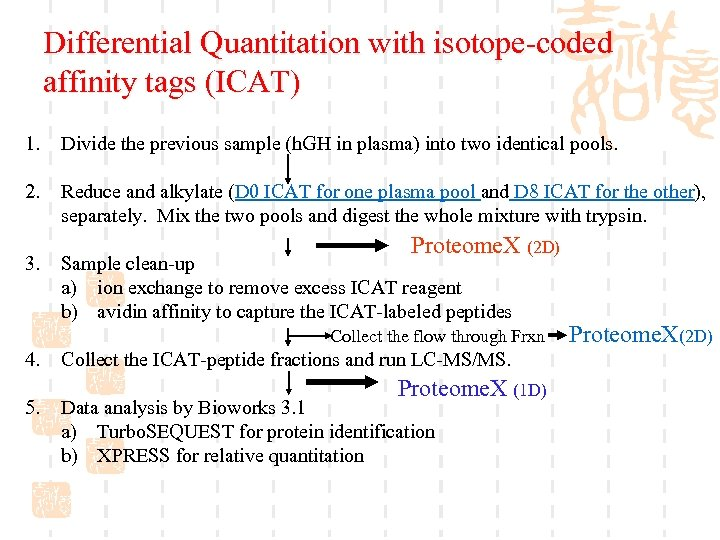Differential Quantitation with isotope-coded affinity tags (ICAT) 1. Divide the previous sample (h. GH